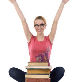 joyful student raising her hands